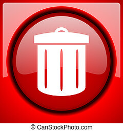 recycle red icon plastic glossy button