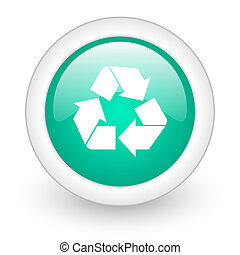 recycle round glossy web icon on white background