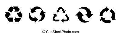 recycle set of black icons isolated on white background