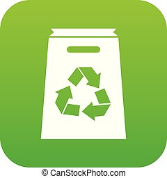 Recycle shopping bag icon digital green