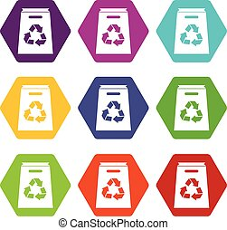 Recycle shopping bag icon set color hexahedron