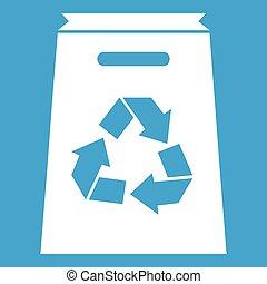 Recycle shopping bag icon white
