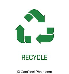 Recycle sign green arrows isolated on white background.