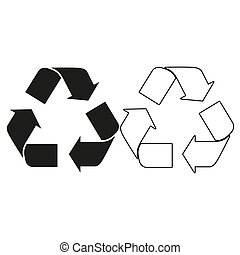 Recycle sign - green vector icon