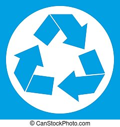 Recycle sign icon white