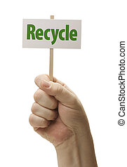 Recycle Sign In Fist On White
