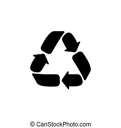 Recycle sign isolated. vector illustration black on white background