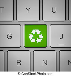 Recycle Sign Keyboard - Recycling green sign on keyboard...