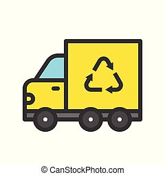 Recycle sign on garbage truck, filled outline Flat icon