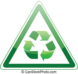 Recycle sign on white background