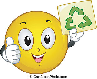 Recycle Sign Smiley - Illustration of Smiley with thumbs up...