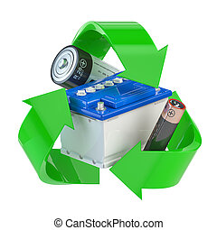 Recycle sign with different types of batteries and car batter. Ecology and green energy concept.