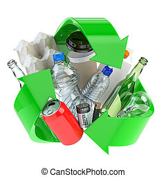 Recycle sign with different types of waste. Garbage and trash sorted by plastic, e-waste, metal, glass and paper. Ecology and green energy concept.