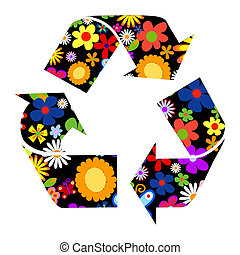Recycle signs with flowers illustration