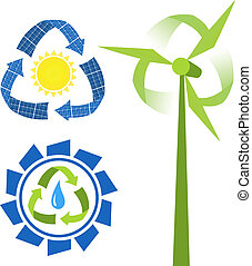 Recycle sources of energy - water, sun and wind. Conceptual...