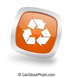 recycle square orange glossy chrome silver metallic web icon