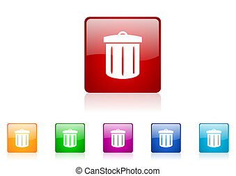 recycle square web glossy icon colorful set