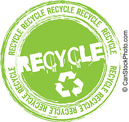 recycle stamp isolated over white background. vector illustration