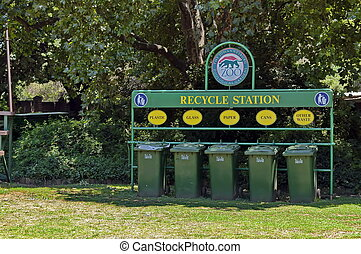 Recycle station for waste
