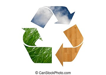 Recycle Symbol - A recycle symbol cutout of natural elements