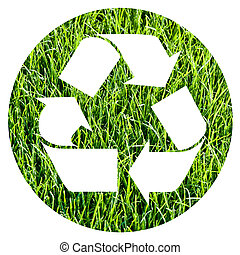 recycle symbol inside a circle of photographic green grass