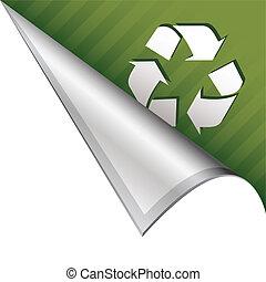 Recycle symbol corner tab