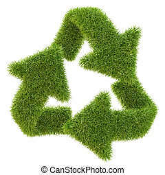 Recycle symbol from grass. isolated on white.