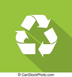 recycle symbol logo flat icon with shadow white on green background