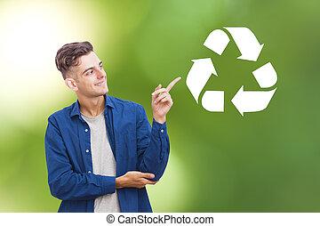 recycle symbol, młody mężczyzna