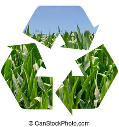 Recycle Symbol of a Field of Corn - Cornfield superimposed...
