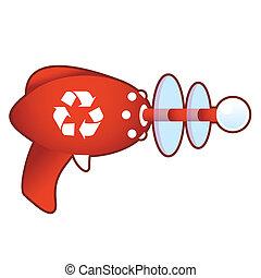 Recycle symbol on retro raygun