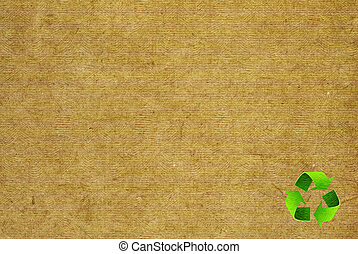 Recycle symbol on the Paper texture background
