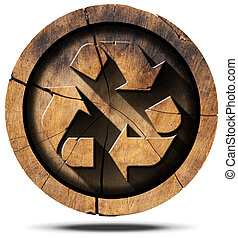 Recycle Symbol on Tree Trunk - Wooden recycling symbol on a...
