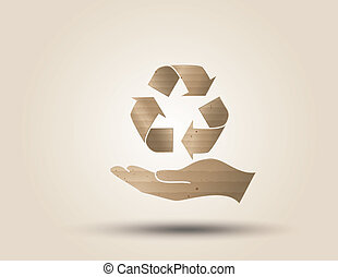 Recycle symbol or sign of conservation . Vector symbol paper...