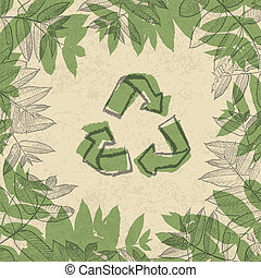 Recycle symbol, printed on reuse paper. In frame of leaves. vector illustration, EPS10.