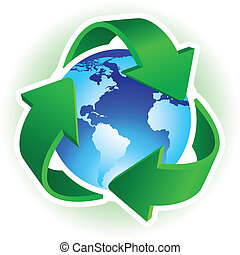 Recycle Symbol with blue Earth on white background. Vector illustration.