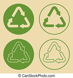 Recycle Symbol Set Isolated - Vector illustration of green ...