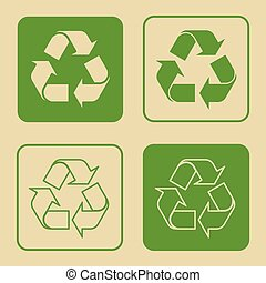 Recycle Symbol Set Isolated - Vector illustration of green...