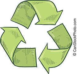 Recycle symbol sketch - Doodle style green recycle symbol...