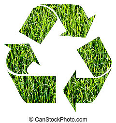 recycle symbol obtained cutting out photographic green grass