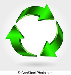 Recycle symbol. Vector sign. Green icon