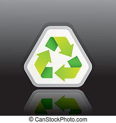recycle symbol, wektor, zielony, ilustracja