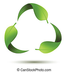 illustration of recycle symbol with leaf on isolated background