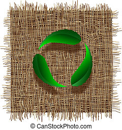 Recycle symbol with leaf on organic weave. Eco vector background