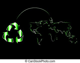 recycle symbol with plug recharging world map of renewable...