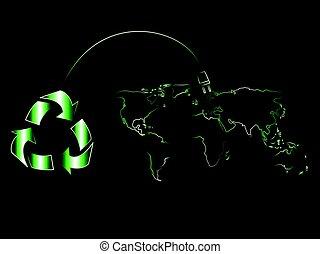 recycle symbol with plug recharging world map of renewable energy