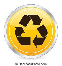 recycle symbol yellow circle icon