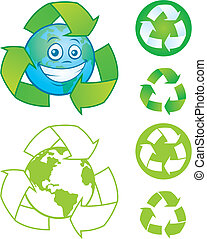 Recycle Symbols and Earth Character - Vector cartoon planet...