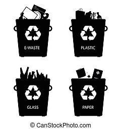 recycle trash cans sign illustration