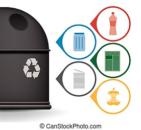 Recycle trash container with garbage icons vector set